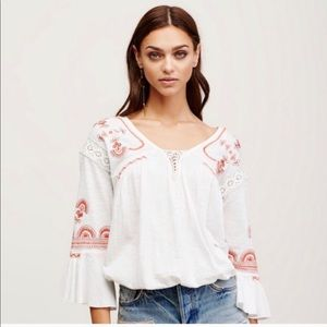 Free People White + Red Embroidered Peasant Top